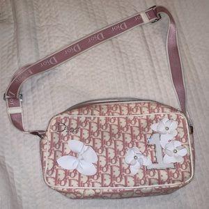 Christian Dior pink canvas flower bag